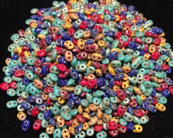 SuperDuo Beads, 2.5x5mm, Raku, DU05MIX127, 10 Grams, Czech Glass