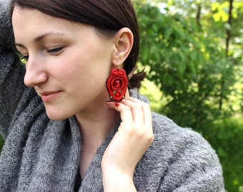Red earrings Red dangle earrings Soutache red crystal earrings statement Gift earrings Bridesmaid earrings Chic jewelry Gift ideas for women