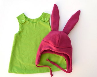 pink bunny ears costume, girls green dress costume, pink bunny ears hat, girls halloween costume