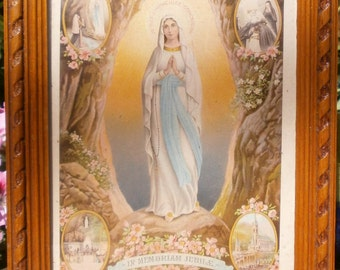 Immaculate conception Holy picture framed Lourdes France