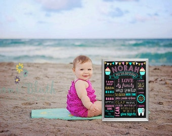 Printable Cupcake 1st Birthday chalkboard sign chalk board first second third (253)