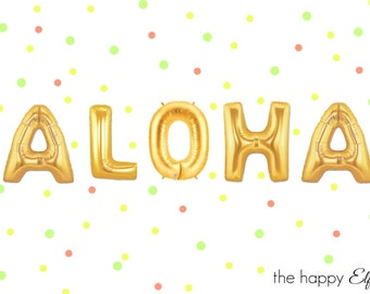 "16"" ALOHA balloons/banner. Aloha balloon. Tropical party. Aloha party. Luau decor. Aloha decor. Tropical balloons. Luau party. Summer party."