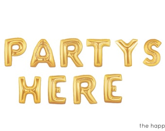 """16"""" Gold PARTYS HERE balloons/banner"""