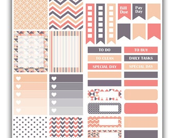 Geometric Peaches weekly stickers kit | Themed weekly kit | Erin Condren vertical theme weekly kit | Weekly planner stickers