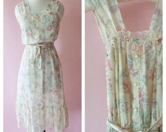 Vintage 1970s Ivory Floral Print Dress, Sak Dress, Peasant Dress, Gunne Sax, Floral Print, Summer Dress, Sleeveless, Tank, Jackie O! Brand