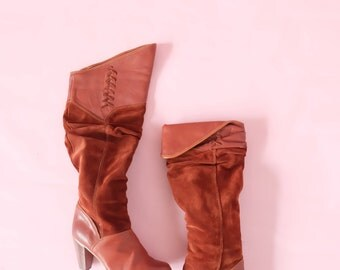 Vintage Distressed Leather Boots High Heeled Western Boots, Burgundy Leather Zodiac Boots, Slouchy Pirate Boots, Two Tone W/ Suede