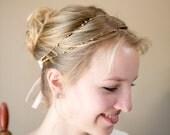 Simone beaded bridal headband in gold, twisted wire head piece, simple bridal headband
