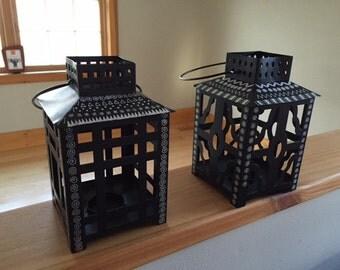 OCDzine Black & Silver Doodle Set of (2) Candle Lanterns