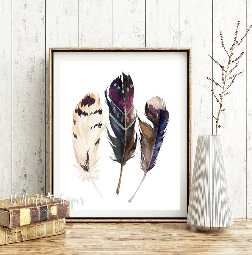 Wall Decorations Boho : Boho printable watercolor feathers wall art print hippie