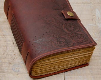 Burgundy Leather Journal, Handbound Journal, Leather Diary, Notebook