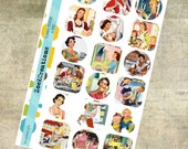 Vintage Housewife Planner Stickers | Dishes | Cooking | Cleaning | Home Maintenance | Sheet Size A5