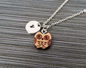Wooden Owl Necklace - Wood Owl Charm Necklace - Personalized Necklace - Custom Gift - Initial Necklace - Silver Charm Necklace