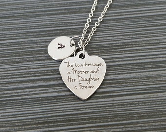 Mother Daughter Necklace - Mothers Day Necklace - Personalized Necklace - Custom Initial Necklace - Mother Daughter Gift - Love Necklace
