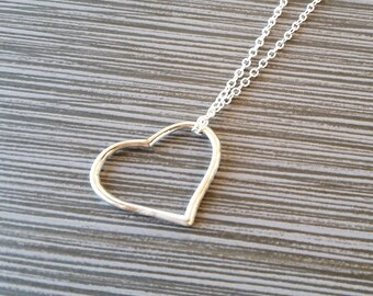 Silver Heart Necklace - Open Heart Pendant - Personalized Necklace - Custom Gift - Initial Necklace - Hollow Heart Necklace