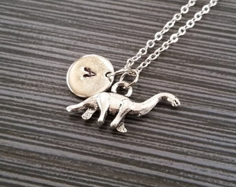 Silver Brontosaurus Necklace - Dinosaur Charm Necklace - Personalized Necklace - Custom Gift - Initial Necklace - Initial Jewelry Gift