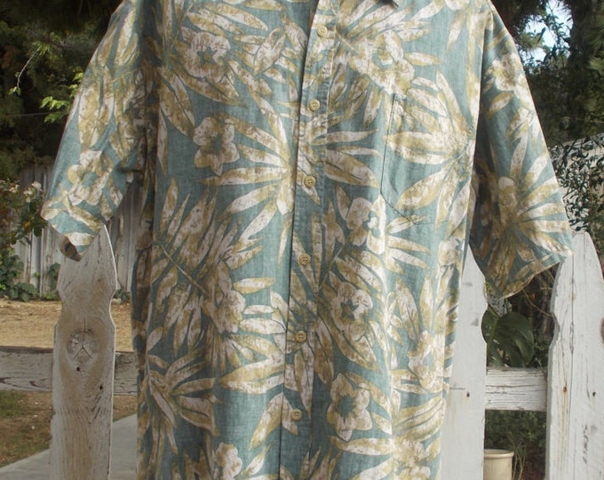 Vintage 80s Cooke Street Blue Tan Cotton Floral Leaf Mens Button-up Short Sleeve Hawaiian Shirt