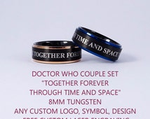 COUPLE SET 2 Rings Black Tungsten Bands with Step Edge Together Forever Through Time and Space Design Rings - 8mm Tungsten Bands