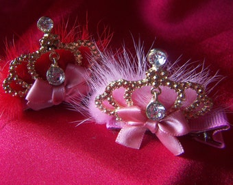 Pink Gold Crown Tiara Mink Fur with Dangling Rhinestone Clip Baby Toddler Girl Pink or Red  Gold Birthday Princess Crown