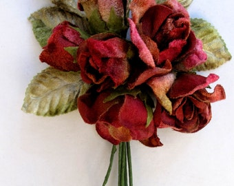 velvet rose posy. rose posy by Miss Rose Sister Violet. millinery flowers. corsages. bouquets.