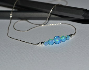 OPAL NECKLACE // Tiny Opal Necklace Silver - Blue Opal Ball Necklace - Dot Necklace - Single Bead Necklace - Opal Bead Necklace