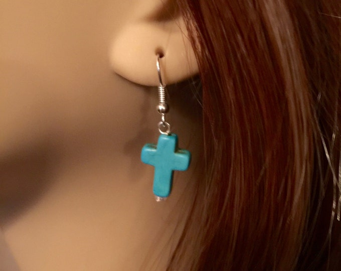 Turquoise Cross Earrings, Christian Earrings, Silver and Turquoise Cross Earrings, Gift for Her, Christian Gifts, Faith Earrings.