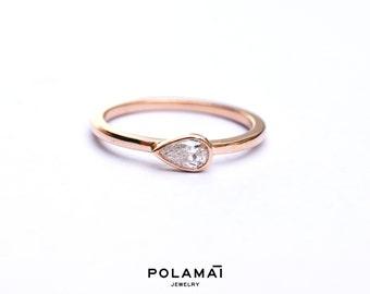 Pear Cut Diamond Ring 14k 18k Gold . 0.20ctw Diamond Solitaire Engagment Ring . Stacking Ring  Horizontal Bezel Set . Rose Yellow White Gold