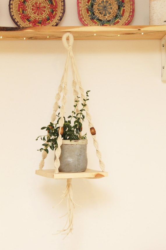 Sale Hanging Shelf Macrame Macrame Plant Hanger With Wooden