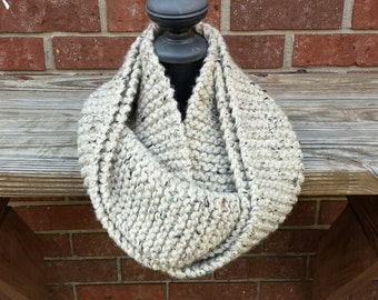 Knit Infinity Scarf, Chunky Knit Scarf, Cowl - Oatmeal Tweed