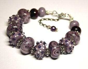 Handmade lampwork bracelet, glass bracelet,  light violet bracelet, lilac bracelet, artisan glass