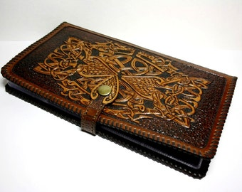 Hand-tooled leather desktop business card holder, leather cardholder, business present,  Celtic design,  leather business card case