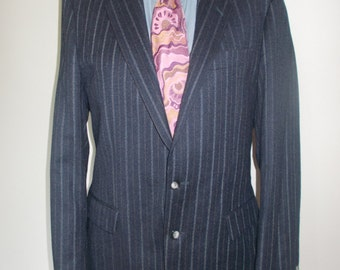 """Vintage mens suit - Immaculate Pure New Wool Navy Pinstripe Suit Winner by Weidenmann made in West Germany 40"""" chest Waist 38"""" leg 32"""""""