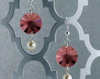 Rose/Peach Pinwheel Earrings - E2675