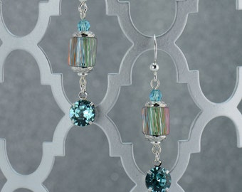 Turquoise Drop Cane Glass Earrings - E2576