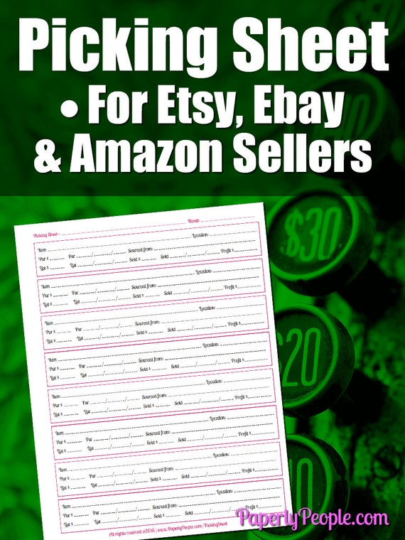 picking sheet for etsy and ebay sellers etsy ebay or amazon sales inventory tool seller. Black Bedroom Furniture Sets. Home Design Ideas