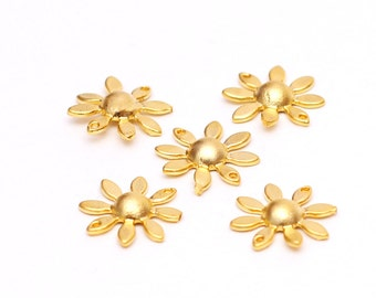 5 pcs Matte Gold Plated Flower Charm, Gold Connector Charm, Flower Connector, Charms for Bracelet, Jewelry Making Supplies