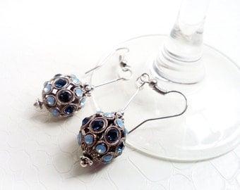 Earrings 'Hélia' - Blue Swarovski crystals strass beads - Statement earrings, strass earrings, boho chic, something blue - Handmade jewelry