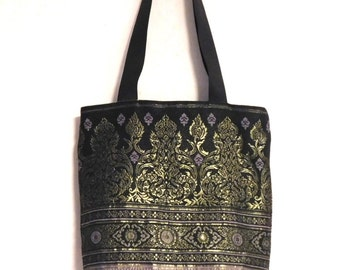 Indian brocade and black leather shopping tote--purple, black and gold