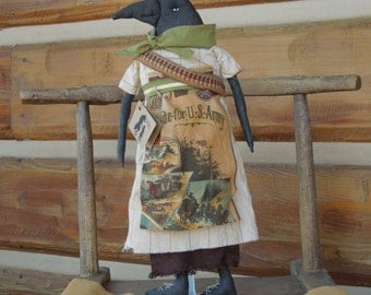 Bandida Raven Crow soft sculpture Primitive Doll white and brown stripe