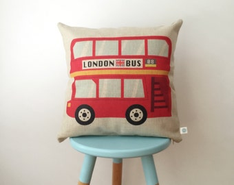 London Bus | Red Cute London Bus Design | Colorful Modern Cushion Cover | Decorative Home Pillow Cover