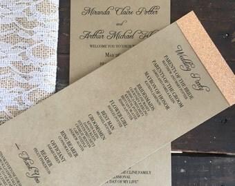 Glitter Wedding Programs - KRAFT & ROSEGOLD