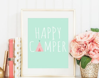 "8x10 ""Happy Camper"" + Teepee Printable and Instant Download"