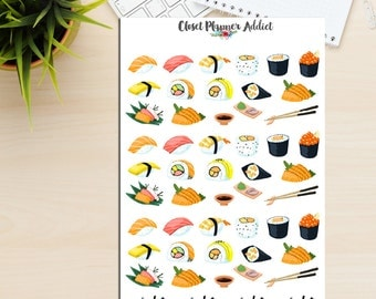 Sushi and Sashimi Planner Stickers | Japanese Food Stickers | Maki Nigiri (S-023)