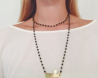 Beaded Hammered Gold Cross Wrap Necklace