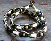 Heishi and Shell Hemp Necklace ~ Green and Blue Surfer Necklace ~ UNISEX 18 inches