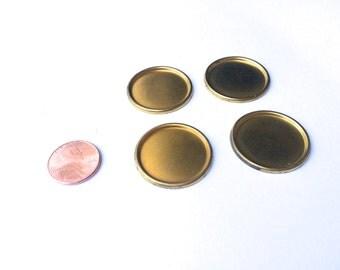 25mm Vintage Round Brass Bezel (Qty 4)