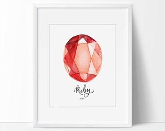 Ruby, Birthstone, Gem Art, Birthstone Art, July Art, July Printable, Gemstone Printable, Ruby Art, Gem Wall Art 5 x 7, 8 x 10, July Gift.