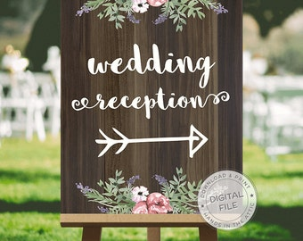 Wedding signage, wedding signs download, wedding signs ideas - RECEPTION direction - this way sign, reception this way, DIGITAL download