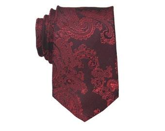 Burgundy Paisley Tie.Burgundy Necktie.Wedding Tie.Silk Tie For Men