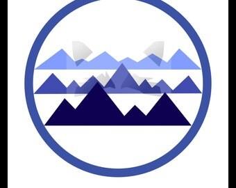 Serenity print blue mountains