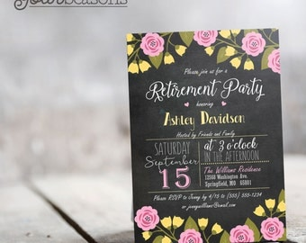 Pink & Yellow Floral Chalkboard Retirement Party Invitation - Personalized Printable DIGITAL FILE